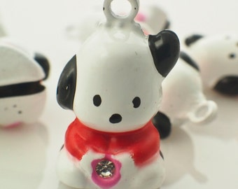 6 Puppy Dog Bells 20mm X 14mm - White with Red Collars - Jump Rings Included