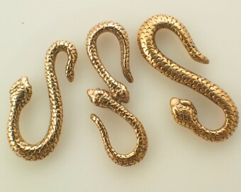 3 Cast Bronze Snake S-Hook Clasps - You Pick Style - Made in the USA - With 6 Matching Soldered Bronze Jump Rings - 100% Guarantee