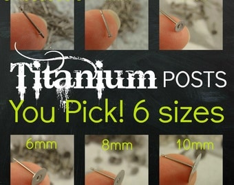 You Pick the SIZE - 20 Pairs Titanium Earring Posts with Pads - Hypoallergenic - Glue On  - Made in the USA
