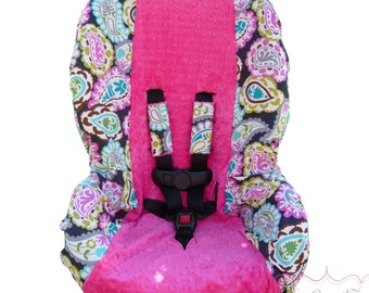 Toddler Carseat Cover Rocco Paisley with Hot Pink