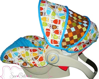 Infant Car Seat Cover Urban Owls with Argyle- Moves To Toddler
