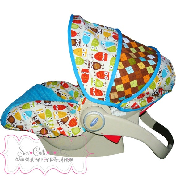 items similar to infant car seat cover urban owls with argyle moves to toddler on etsy. Black Bedroom Furniture Sets. Home Design Ideas
