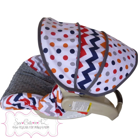 Boy Chevron With Charcoal Infant Car Seat Cover By Sewcuteinaz
