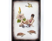 cat art pet collage vintage home decor shabby chic woman bird turtle flower tagt team