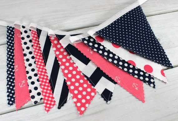 Banner bunting photo prop fabric flags nautical nursery for Nautical nursery fabric