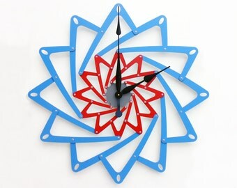 Pinwheel I, Extra Large Wall Clock, Wildflower Blue & Red Wall Clock, Unique Wall Clock, Modern Wall Clock, Steampunk Wall Clock, Metal Art