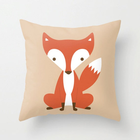 Cute Pillow For Kid : Items similar to Cute red fox woodland cushion / pillow cover for kids / child 40 x 40cm on Etsy
