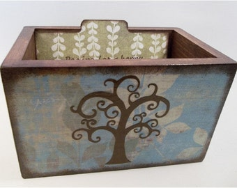 Wedding Card Box, Wedding Guest Book Box. Large Recipe Box, Holds 5x7 Cards,Tree of Life Card Box, MADE TO ORDER