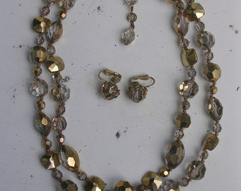 Vogue Necklace and Earrings Gold Crystal 1950s