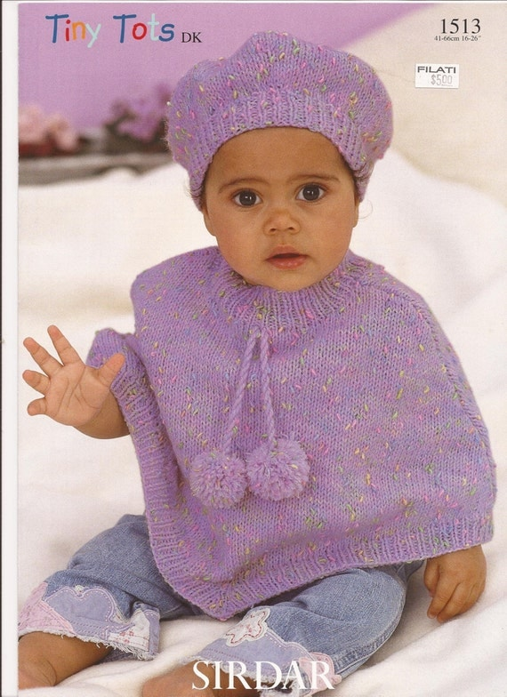 Knitting Pattern Child s Beret : Baby Poncho Pattern with Beret Girl Childs Poncho