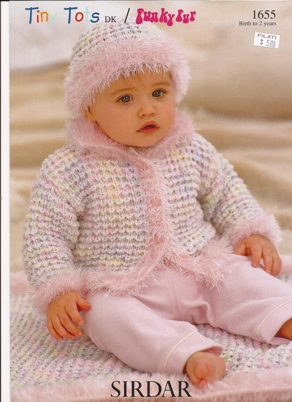 Cable Hat Knit Pattern : Sirdar Tiny Tots DK Funky Fur Knitting Pattern 1655 Jacket