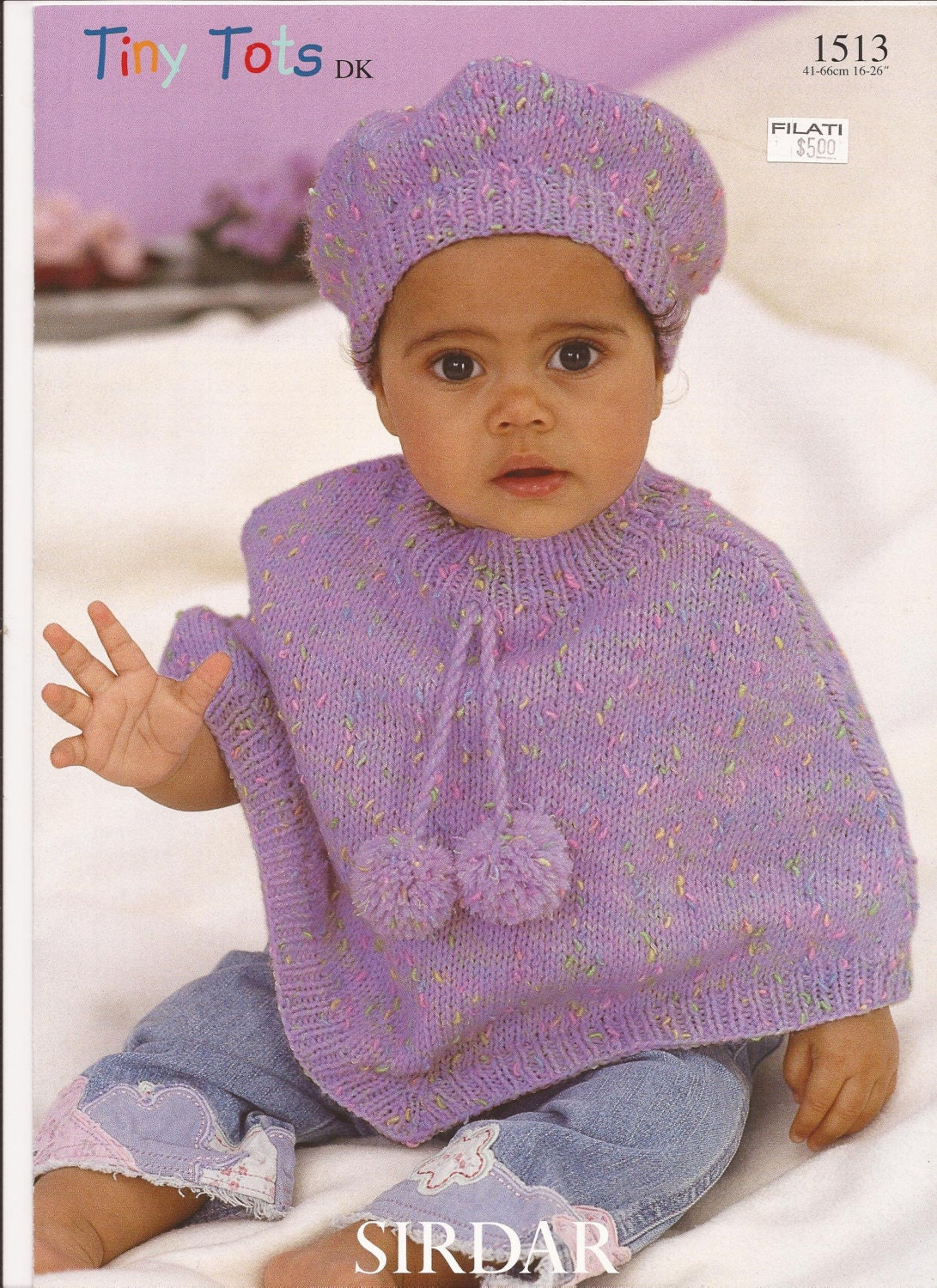 Baby Poncho Pattern with Beret Girl Child's Poncho