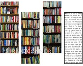 printable bookmarks, instant download, digital file, book shelves, Books, Old Irish Script, Fine Art Photography