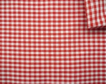 Vintage Fabric 80's Cotton, Red, White, Checkered, Material