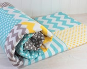 Baby Blanket, Unisex Patchwork Baby Blanket, Boy or Girl Minky Blanket, Photography Prop, Gray, Yellow and Aqua Blue Chevron Dots, Stripes