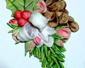 Winter Brooch  Handmade Holly, Pinecone, Spruce Fir and Christmas Roses Cottage Pin  Vintage Style  CreatingCottage   HP Jewelry
