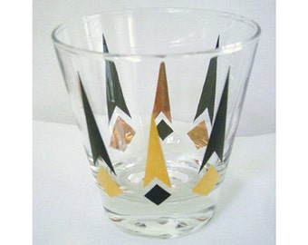 1 Vintage Atomic Black and Gold  Diamond and Arrow Design  Shot Glass Mad Men Chic