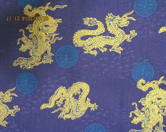 Marianne of Maui Hawaiian Quilting Fabric Golden Dragons on Navy Blue New Arrival Bolt
