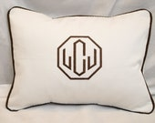 Monogrammed  Pillow, Monogram Pillow,  Personalized Pillow, Dorm Decor, Nursery Pillow, Wedding Gift Holiday Baby, Lumbar Pillow
