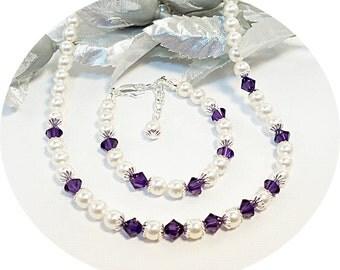 Dark Purple Necklace and Bracelet, Flower Girl, Lapis, Pearl Jewelry, Toddler Jewelry, Kids Jewelry,  Purple Necklace, Purple Bracelet