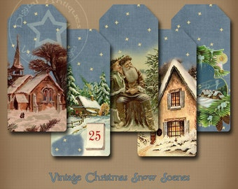 Vintage Christmas Snow Scene Tags Printable Digital Download