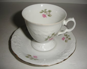 Tea Cup  Saucer Waswil Vinatge China  PInk Roses  White Embossed Demi Cup Shabby Cottage Chic