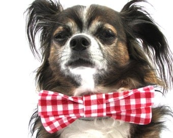 Pet Bowtie-Clip on- Gingham Red and White Checkered-Large