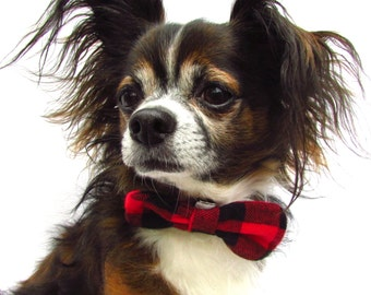 Pet Dog Bowtie-Red and Black Plaid Flannel-CLip on collar attathment