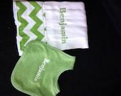Set of personalized bib and burp cloth set