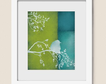 Blue Green Bird Wall Art 8 x 10 Print, Nature Home Decor, Lime Green (224)