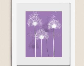 Dark Purple Lavendar Dandelion Wall Art 11 x 14 Print for Girls Room Decor, Bathroom Bedroom Art Print (51)
