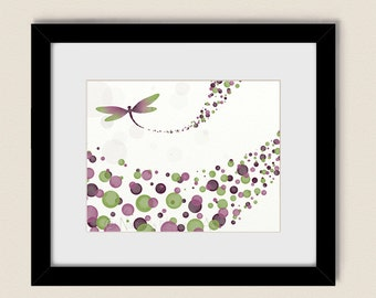 Green and Pink Girls Room Dragonfly Wall Print, Burgundy Mauve Home Office Decor, Nature wall Art (109)