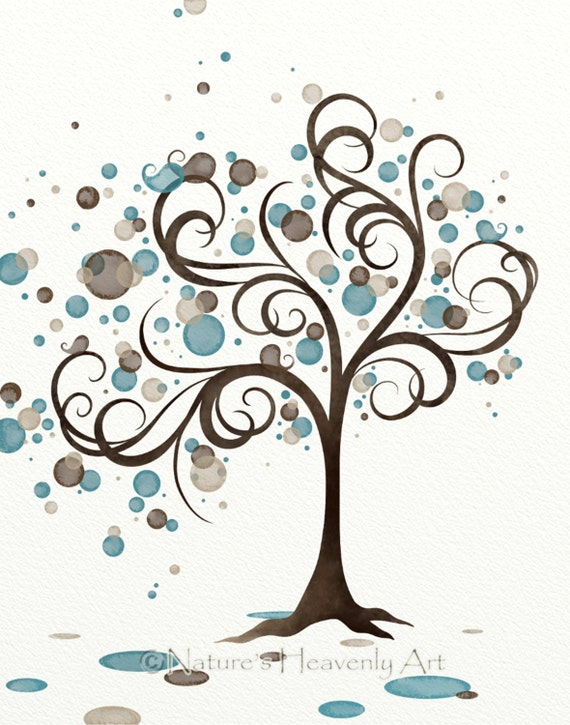 Blue Brown Whimsical Bird In Tree Wall Art By
