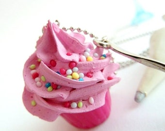 Cupcake necklace and small spoon Charm fake cupcake alice in wonderland ,unique baker gift pink frosting  ,gift for birthday girl party