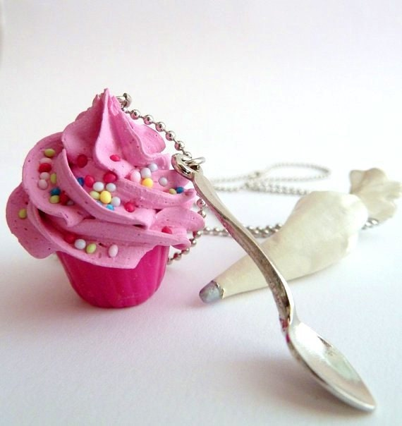 Cupcake necklace and small spoon Charm fake cupcake polymer clay ,unique baker gift,  pink frosting  ,gift for birthday party, girly gift