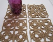 Set of 4 Art Deco Style Crochet Beige Coasters - FREE SHIPPING