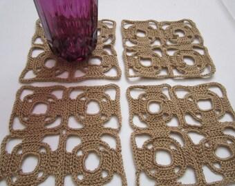 Set of 4 Art Deco Style Crochet Beige Coasters - FREE SHIPPING