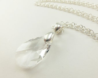 Clear Teardrop Necklace Sterling Silver Crystal Necklace