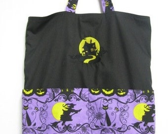 Haunted House and Black Cat Two Sided Embroidery -  Eco Friendly Tote, Purse, Bag