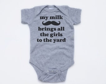 My Milk Mustache Brings all the Girls to the Yard - Short Sleeve Heather Gray Bodysuit