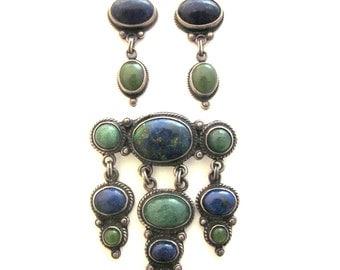 Sterling Silver Lapis Jewelry Set Brooch Earrings Jade Chrysocolla Gemstone Jewelry