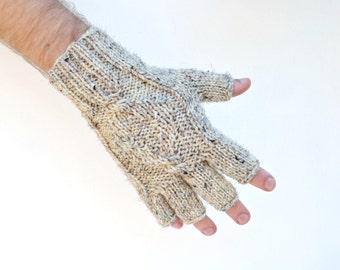 Men's fingerless gloves oatmeal - gift for him - Christmas