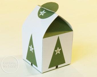 Christmas Tree Printable Gift Box - Modern Holiday Instant Download