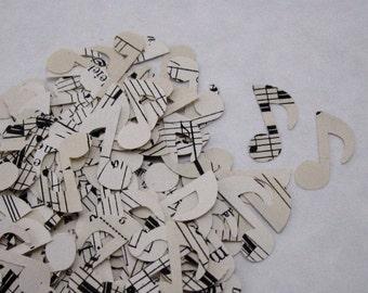 100 die cut mini vintage paper music notes; music note confetti