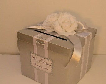 Silver and White Wedding Card Box Gift Card Box Money Box Holder--Customize your color (10x10x9)