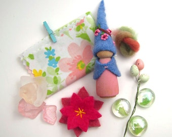 Cherry Blossom Peg Doll and Spring Inspired Treasures