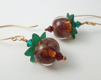 Fruits of the Forest bronze lampwork and lucite earrings