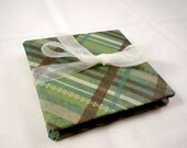 Hand Folded Accordian Book - Pocket Dream Board - Mini Scrapbook - Plaid and Spring Green