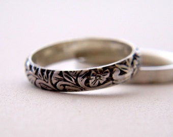 Sterling Silver Ring, Patterned Band Ring, Made to Order, Botanical Series