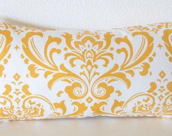 Yellow damask decorative lumbar pillow cover - white and yellow damask accent throw pillow cover